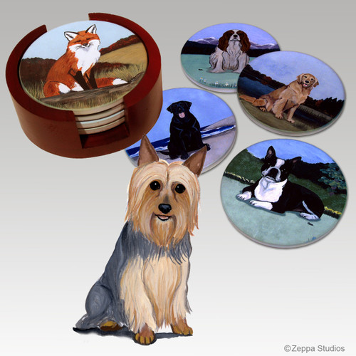 Silky Terrier Bisque Coaster Set
