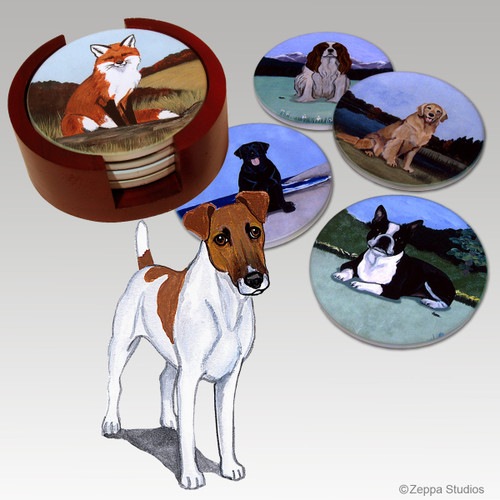 Smooth Fox Terrier Bisque Coaster Set