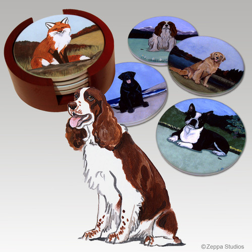 Springer Spaniel Bisque Coaster Set