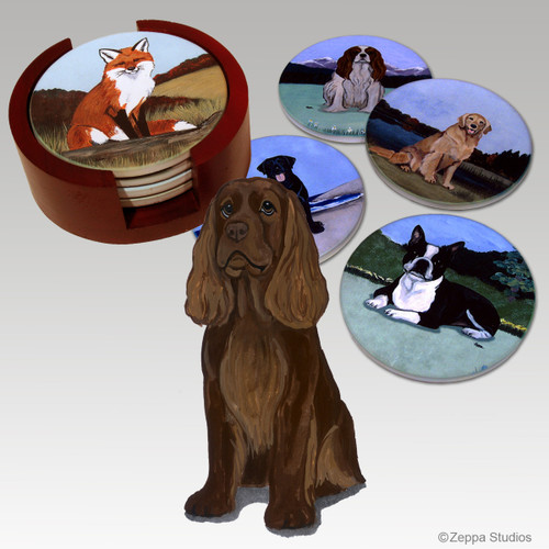 Sussex Spaniel Bisque Coaster Set