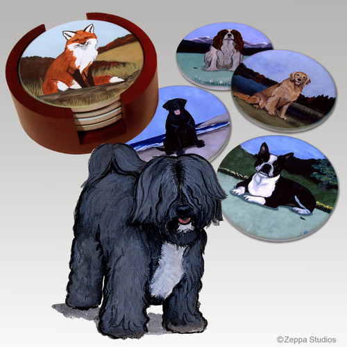 Tibetan Terrier Bisque Coaster Set