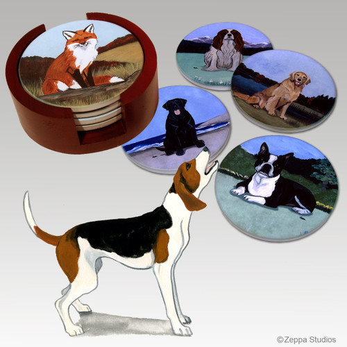 Treeing Walker Coonhound Bisque Coaster Set