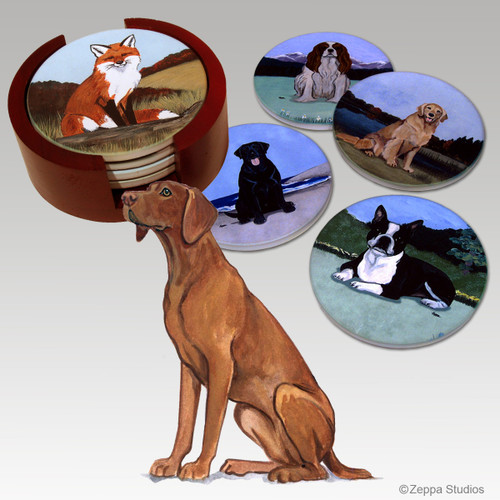 Vizsla Bisque Coaster Set