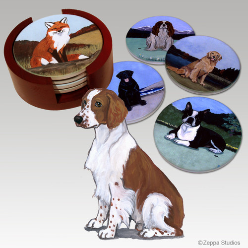 Welsh Springer Spaniel Bisque Coaster Set