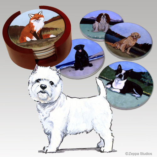 West Highland White Terrier Bisque Coaster Set