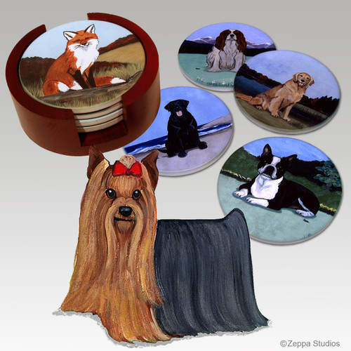 Yorkshire Terrier Bisque Coaster Set