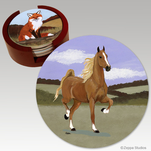 Saddlebred Horse Bisque Coaster Set