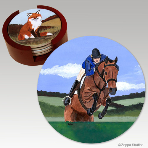 Hunter Jumper Bisque Coaster Set
