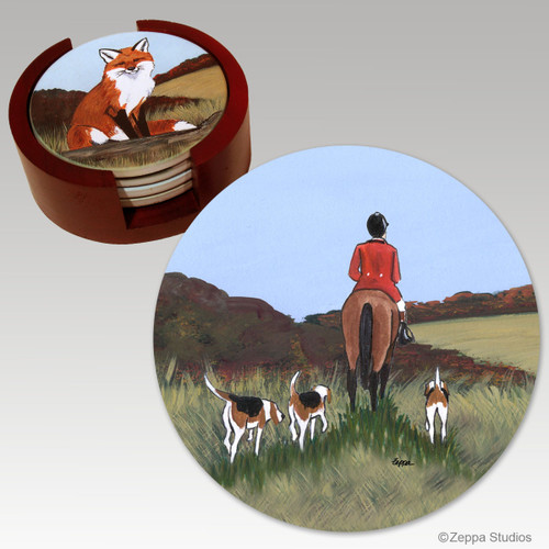 Fox Hunt  Bisque Coaster Set