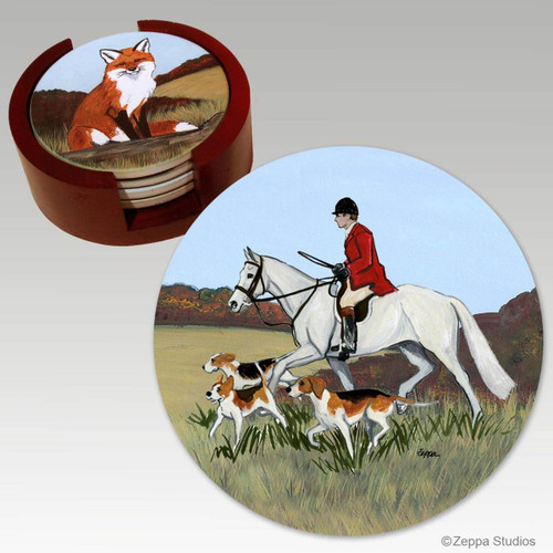 Hunt Scene Bisque Coaster Set