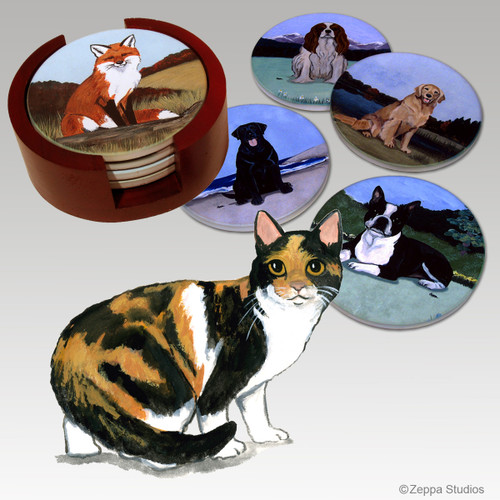 Calico Cat  Bisque Coaster Set