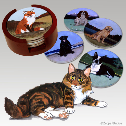 Maine Coon Cat  Bisque Coaster Set