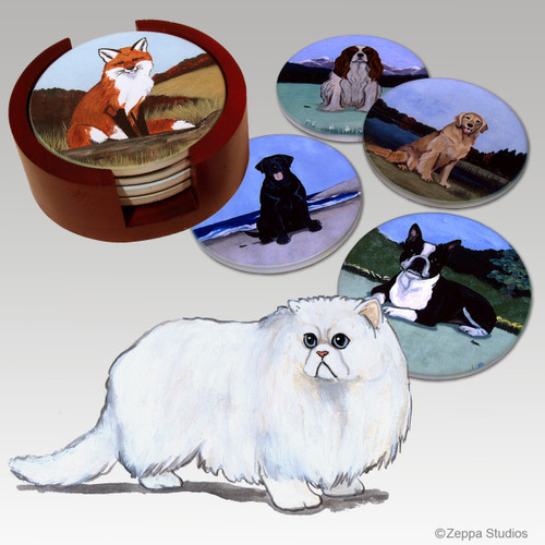 Persian Cat Bisque Coaster Set