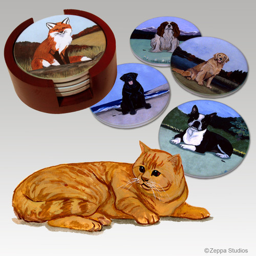 Orange Tabby Cat Bisque Coaster Set