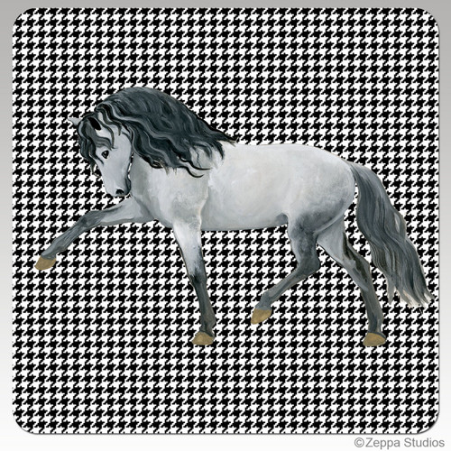 Andalusian Horse Houndzstooth Coasters