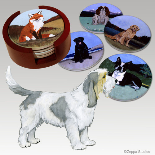 Grand Basset Griffon Vendeen Bisque Coaster Set