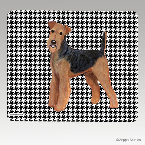 Airedale Houndstooth Mouse Pad