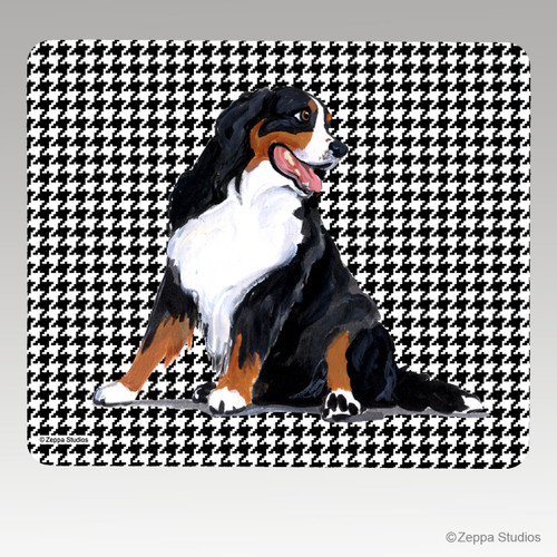 Bernese Mountain Dog Houndstooth Mouse Pad