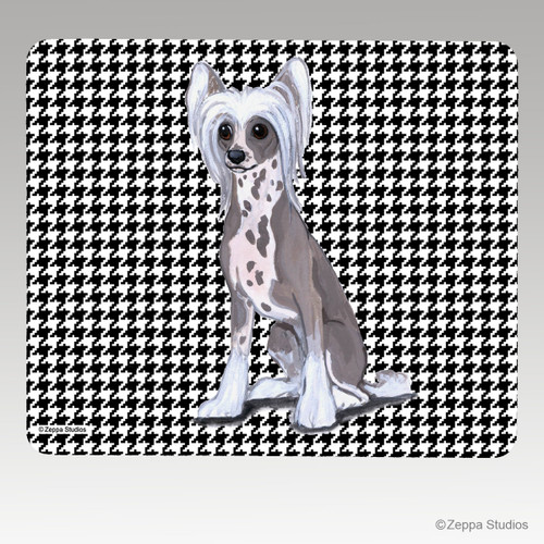 Chinese Crested Houndstooth Mouse Pad