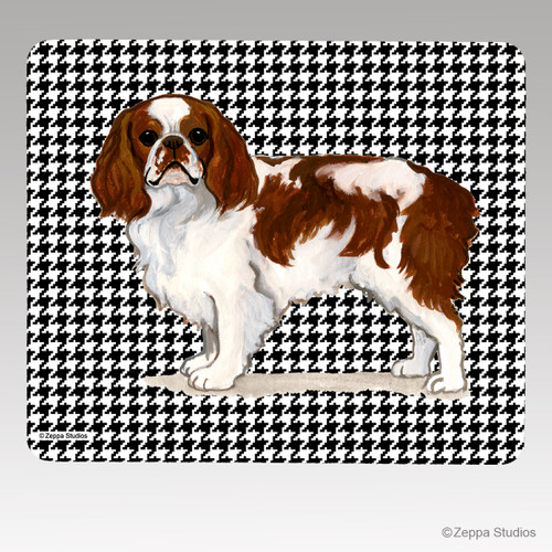 English Toy Spaniel Houndstooth Mouse Pad