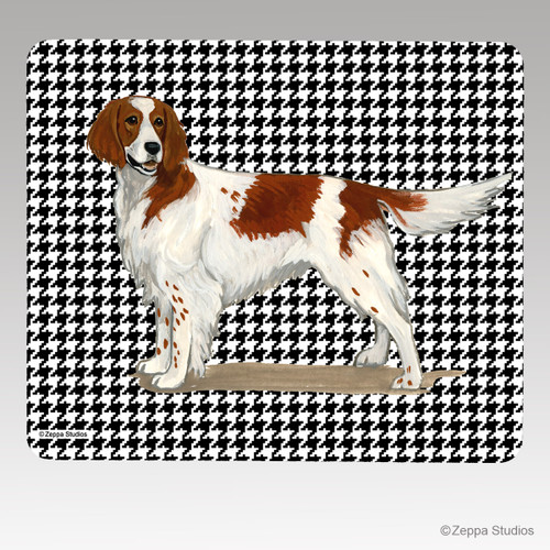 Irish Red and White Setter Houndstooth Mouse Pad