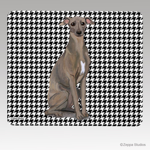 Italian Greyhound Houndstooth Mouse Pad