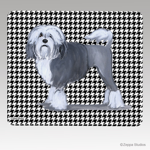 Lowchen Houndstooth Mouse Pad