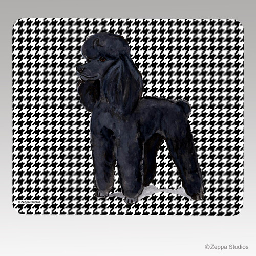 Black Poodle Houndstooth Mouse Pad