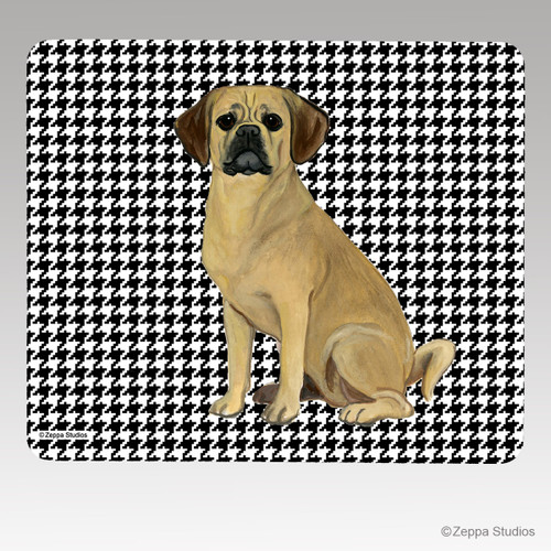 Puggle Houndstooth Mouse Pad