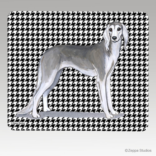 Saluki Houndstooth Mouse Pad - Rectangle