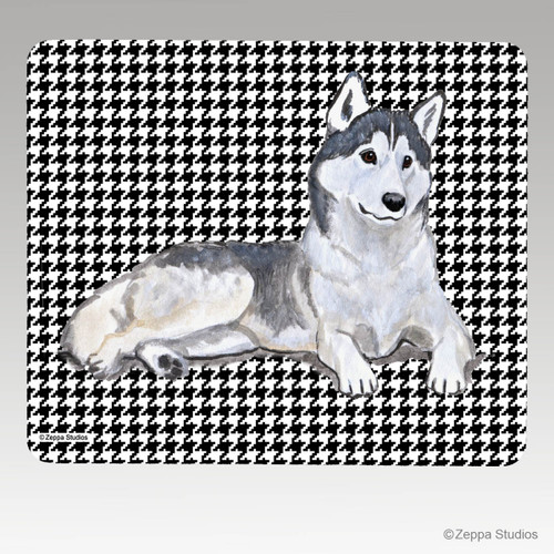 Siberian Husky Houndstooth Mouse Pad