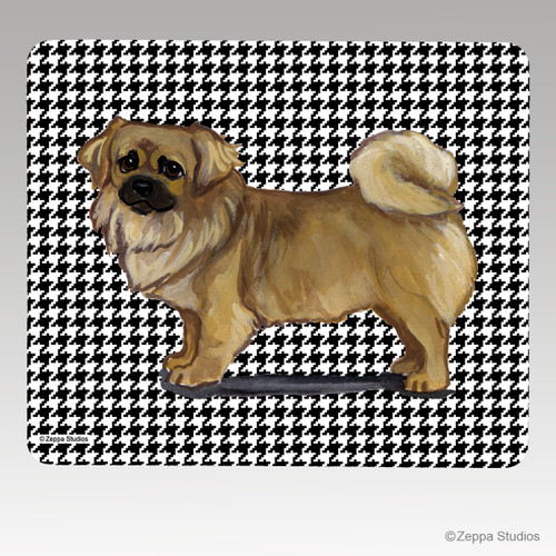 Tibetan Spaniel on Houndstooth Mouse Pad