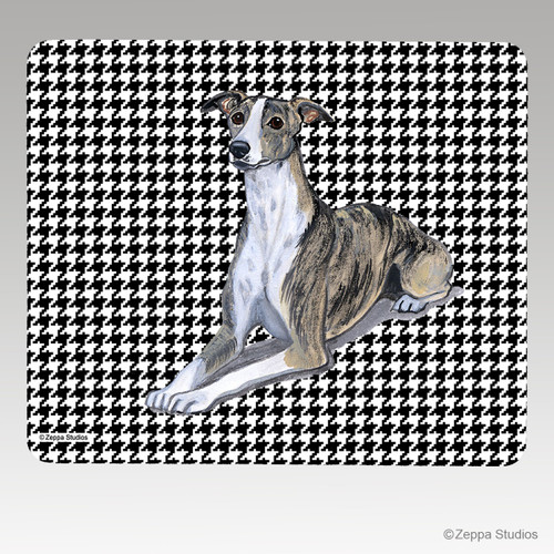 Whippet Houndstooth Mouse Pad - Rectangle