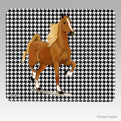 Saddlebred Horse on Houndstooth Mouse Pad