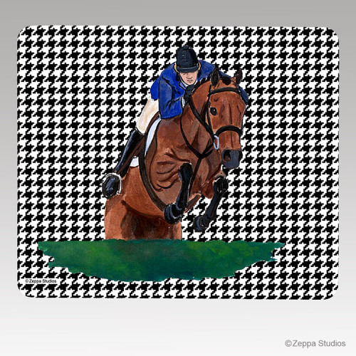 Hunter Jumper Houndstooth Mouse Pad