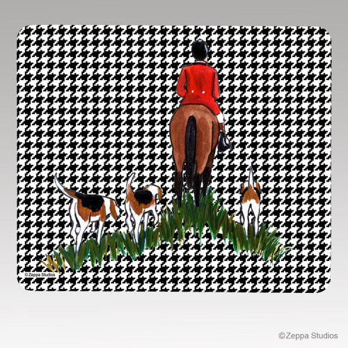 Fox Hunt Houndstooth Mouse Pad