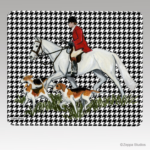 Fox Hunt Scene Houndstooth Mouse Pad