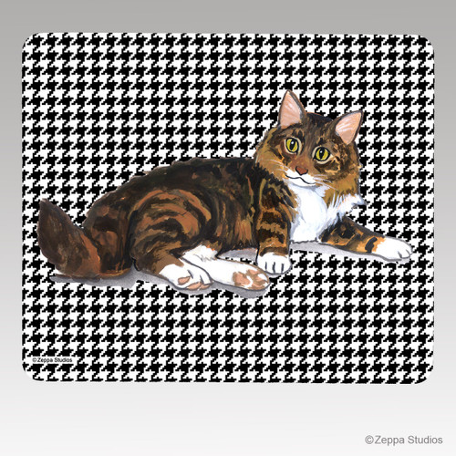 Maine Coon Cat Houndstooth Mouse Pad