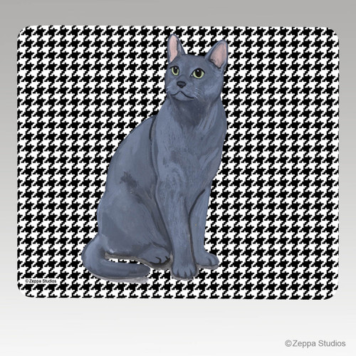 Russian Blue Cat Rectangular Houndstooth Mouse Pad