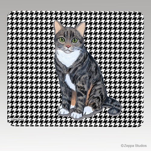 Tabby Cat Houndstooth Mouse Pad