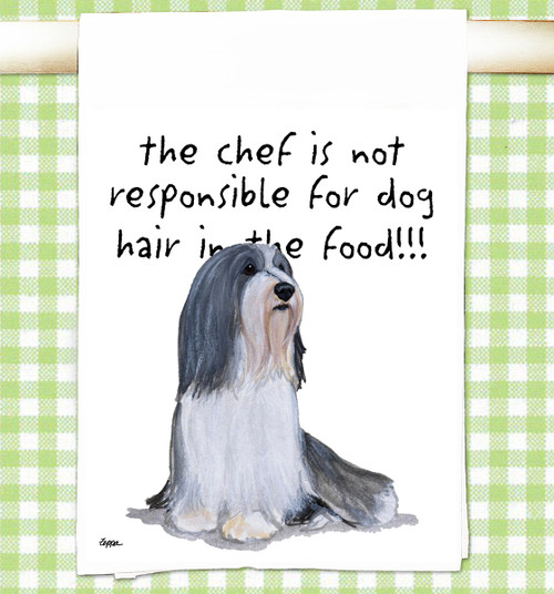 Bearded Collie Flour Sack Kitchen Towel
