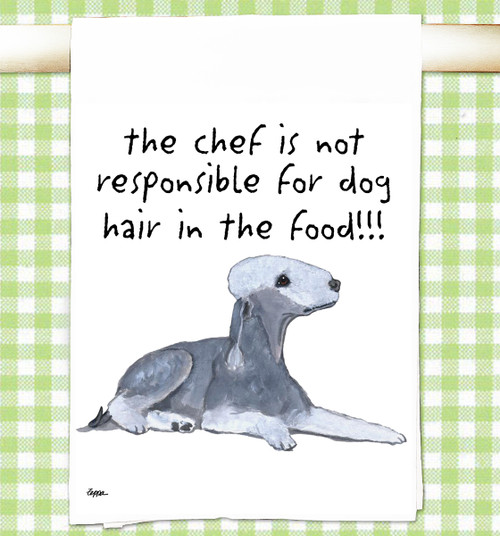 Bedlington Terrier Flour Sack Kitchen Towel