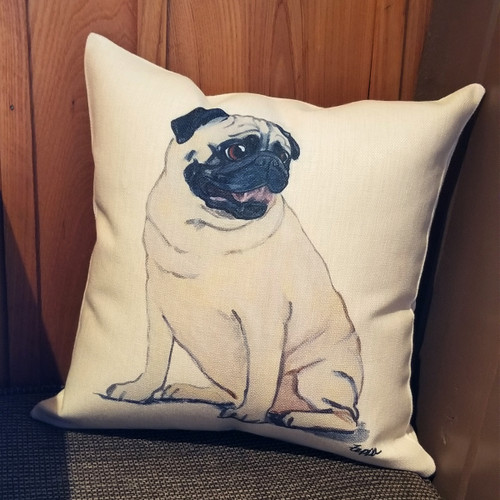 Sitting Pug Throw Pillow