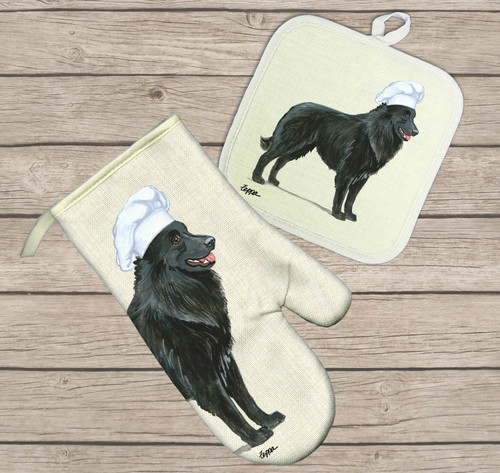 Belgian Shepherd Hot Paws Pot Holder and Oven Mitt