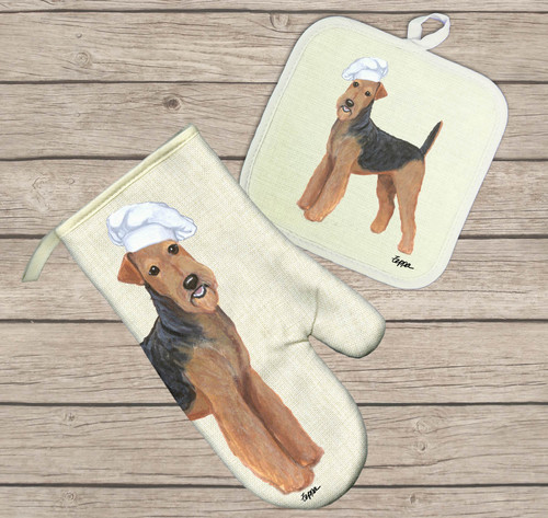 Airedale Hot Paws Oven Mitt and Pot Holder Set