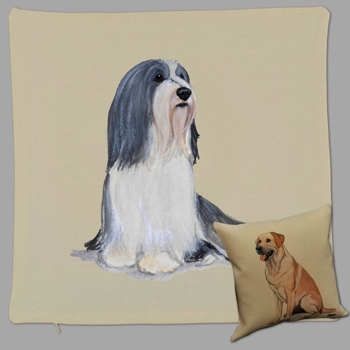 Zeppa Studios Bearded Collie Throw Pillow