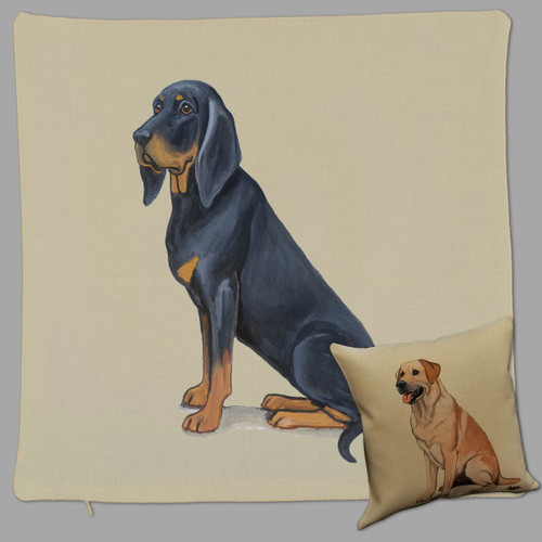 Zeppa Studios' Black and Tan Coonhound Throw Pillow
