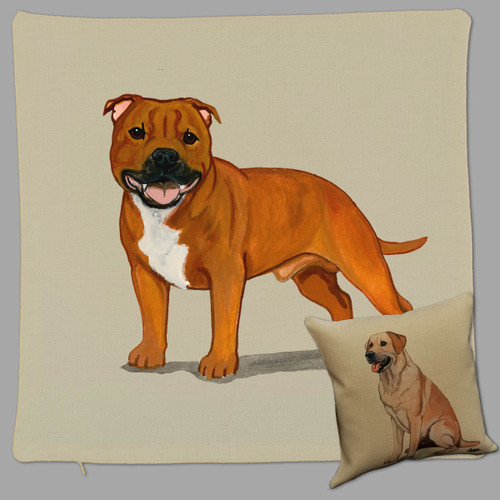 English Staffordshire Terrier Throw Pillow