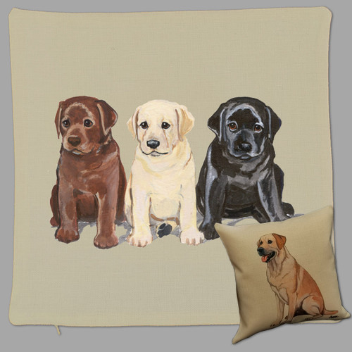 Lab Puppies Throw Pillow