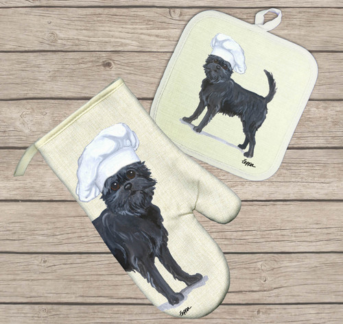 Affenpinscher Oven Mitt and Pot Holder Set